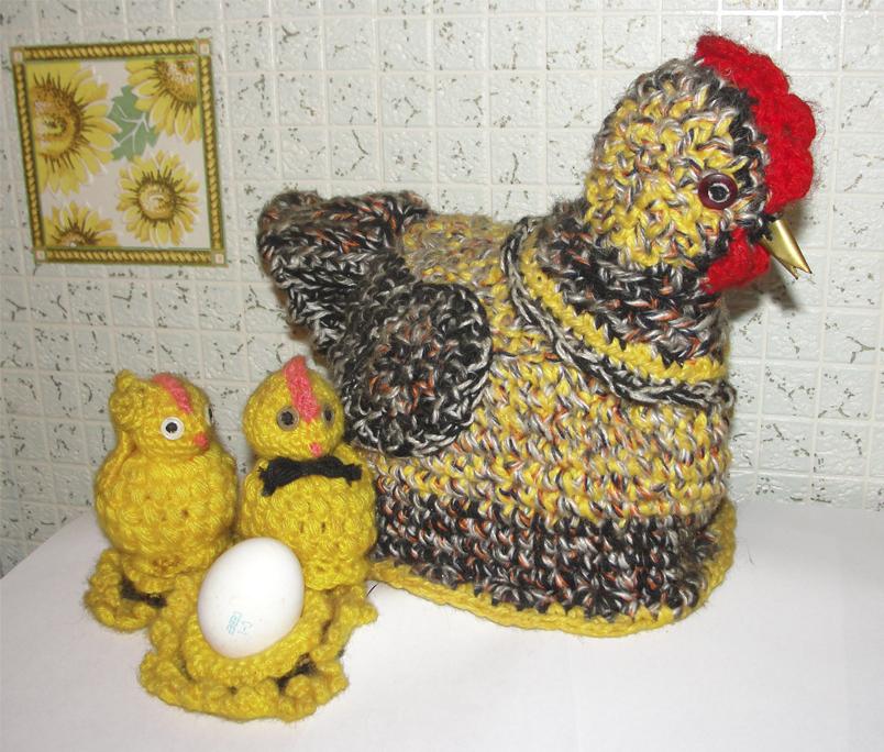 Вязание курицы с цыплятами